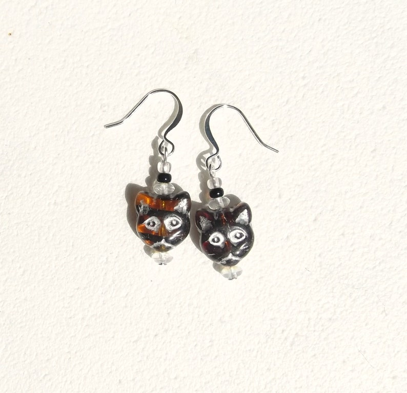 Not Quite a Pair Brown Cat Glass  Earrings