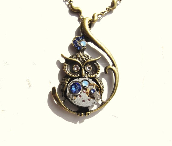 Steampunk Owl Vintage Watch Movement Blue and Pale Yellow Victorian Owl