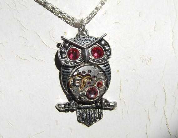 Steampunk Goddess Athena Owl Azalea Shades of Pink Necklace Vintage Watch Movement