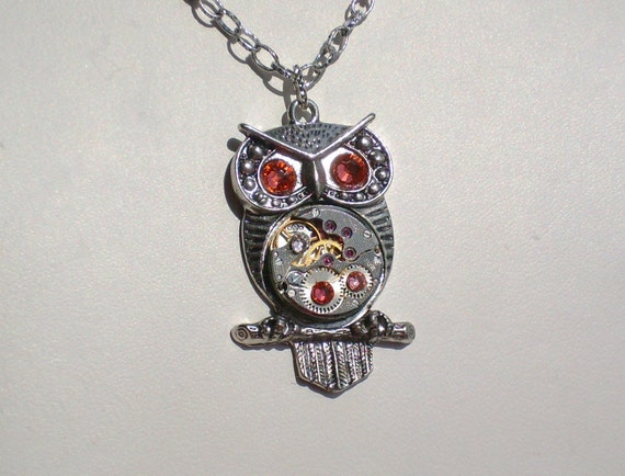 Steampunk Owl Coral Peach Goddess Athena Necklace Vintage Watch Movement