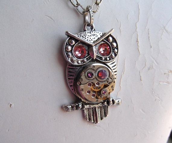Steampunk Goddess Athena Owl Peach and Lavender Necklace Vintage Watch Movement