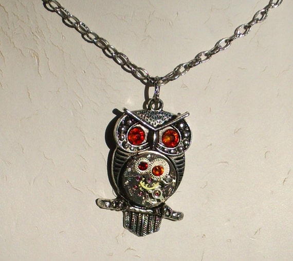 Steampunk Owl Red Gold Yellow Necklace Vintage Watch Movement