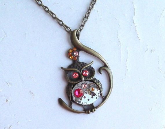 Steampunk Owl Vintage Watch Movement Victorian Owl