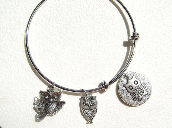Owl Charm Expandable Owl Bangle Owl Charms Bracelet