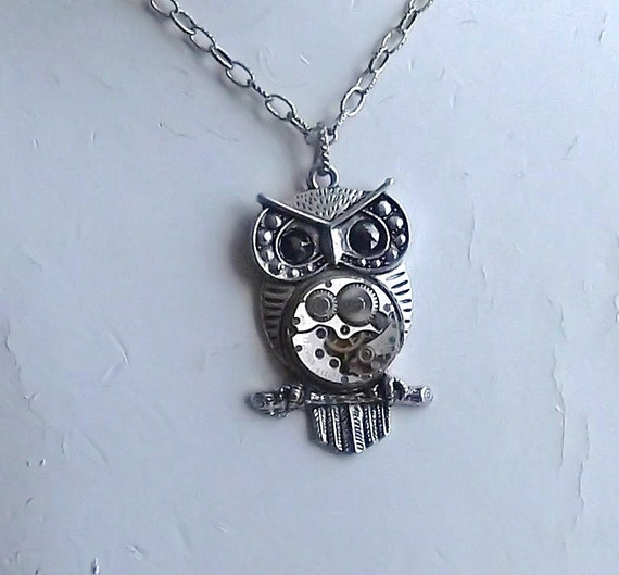 Steampunk Owl Hematite Eye Vintage Watch Movement Pendant