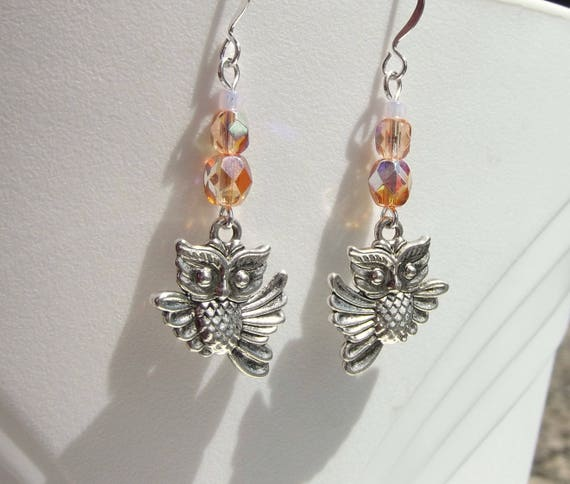 Peachy Pink Crystal Flying Owl Earrings