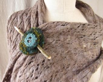 Fiber wrapped shawl/scarf/hair pin