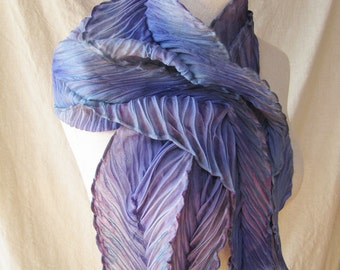 Unique hand dyed shibori silk/wool blend scarf in lavender, lilac, and violet