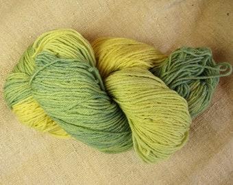 Hand dyed wool/nylon sock yarn with foraged goldenrod and farm-grown indigo