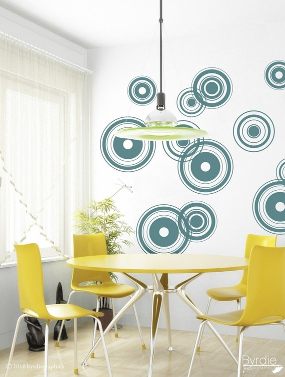 Retro Bullseye Circles Vinyl Wall Decal, Chandelier Wall Decal Target