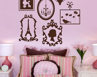 Paris Vinyl Wall Decals, Frame Collage, Vinyl Wall Graphics, Europe, Stickers, Poodle, Eiffel Tower, item 10023