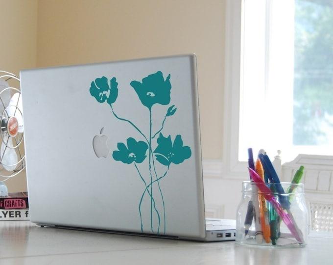 Laptop Poppy Field Decal 40001, Laptop Skin, Flower Laptop Sticker, Modern Flowers, Minimalist