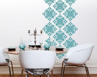 Vinyl Wall Decals Scroll Damask Wall Pattern -18 graphics- Vinyl Wall Graphics, Wallpaper, Sticker, Large Wall Decals