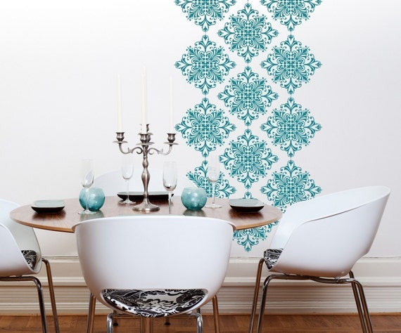 Vinyl wall decals scroll damask wall pattern 18 graphics