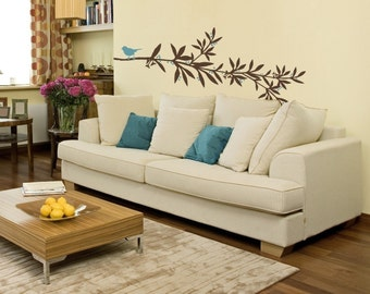 Large Flowering Branch Vinyl Wall Decal- Branch with Bird Graphic,  Tree Branch, Vinyl Wall Graphic, item 30008