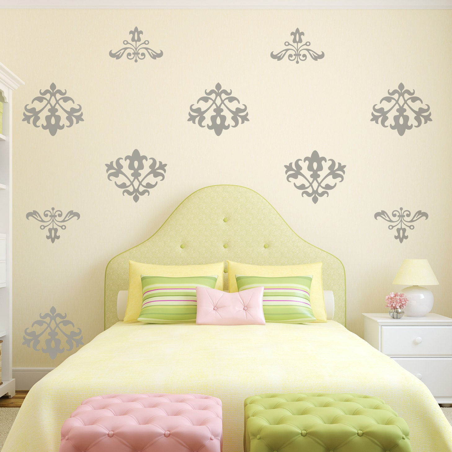 Floral Damask Vinyl Wall Decal Pattern Shabby Floral Flock
