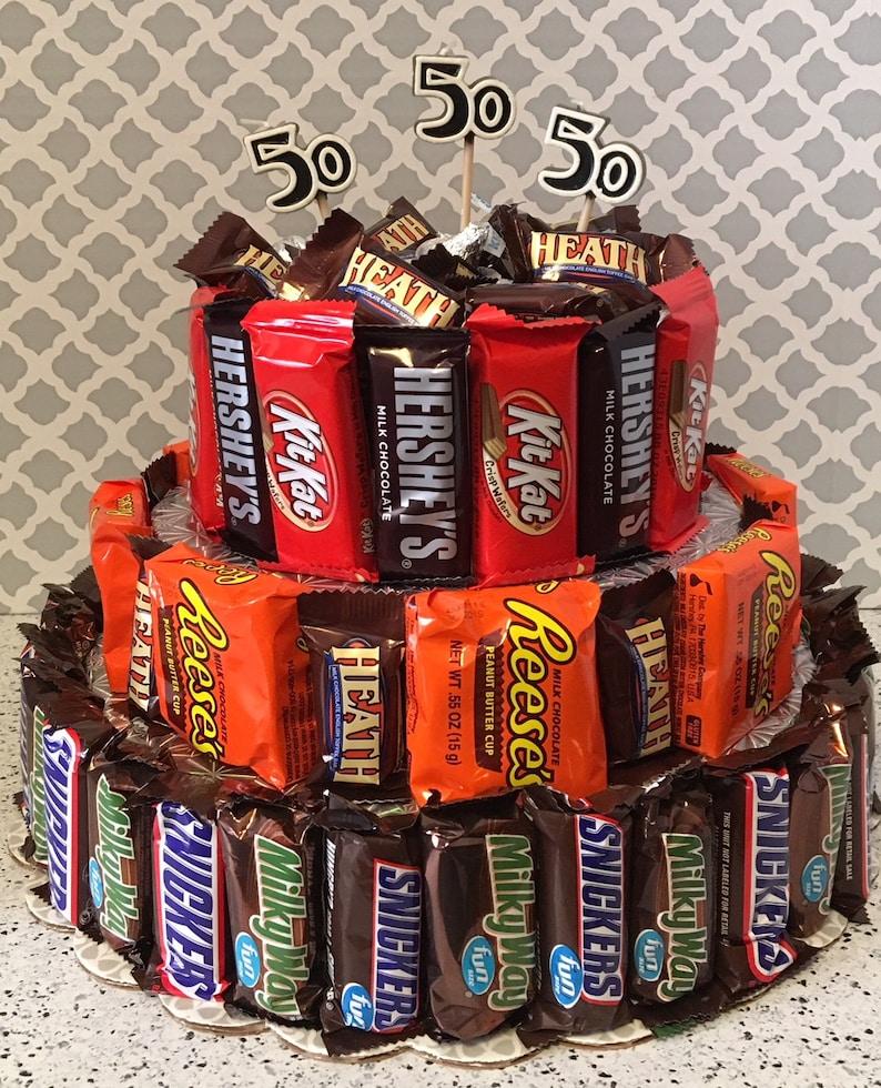 50th Birthday 3 Tier Candy Bar Cake Custom