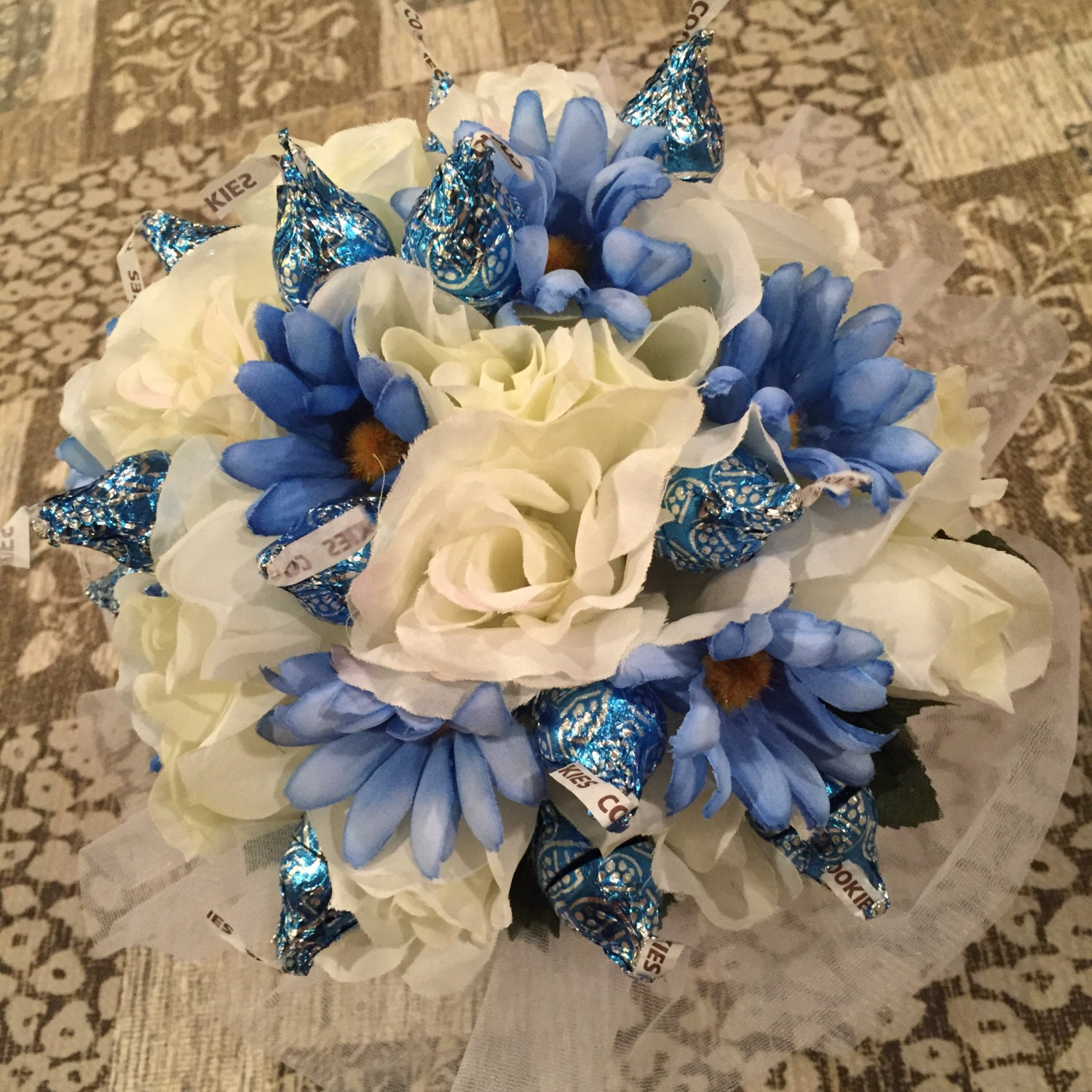 Silk Flower Bouquet With Chocolate Kiss Roses Kisses Bouquet Etsy