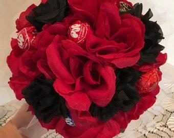 Red and Black Silk Flower Lollipop Bouquet, Dance Recital Lollipop Bouquet, Dance Recital Silk Flower Lollipop Bouquet