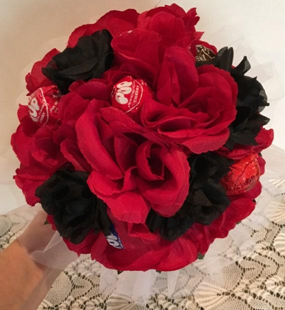 Red and Black Silk Flower Lollipop Bouquet Dance Recital