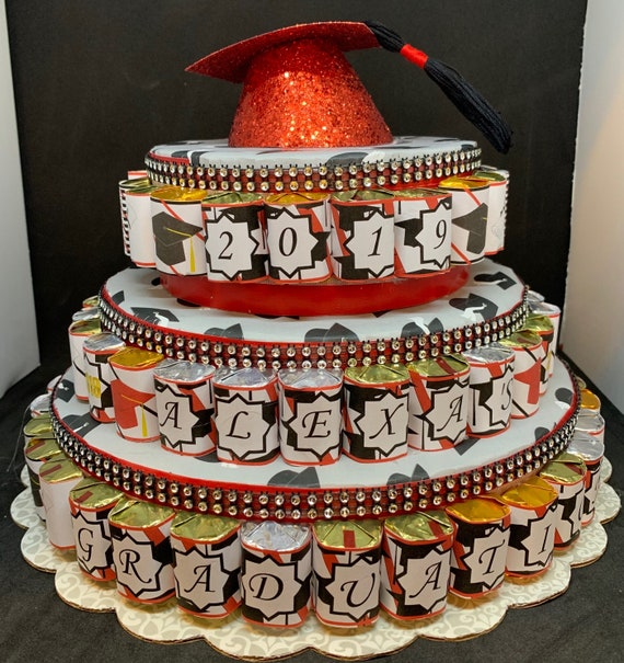 Peachy Candy Bar Cake 3 Tier Graduation Candy Cake Birthday Candy Etsy Funny Birthday Cards Online Bapapcheapnameinfo