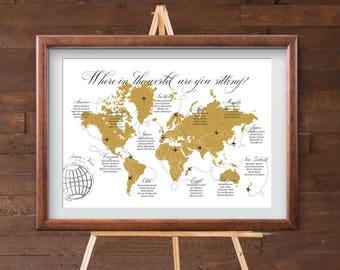 World map seating etsy diy seating chart world map design custom seating chart travel destination wedding seating chart printable digital file gumiabroncs Images