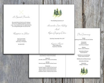 greenery design wedding program tea length wedding program
