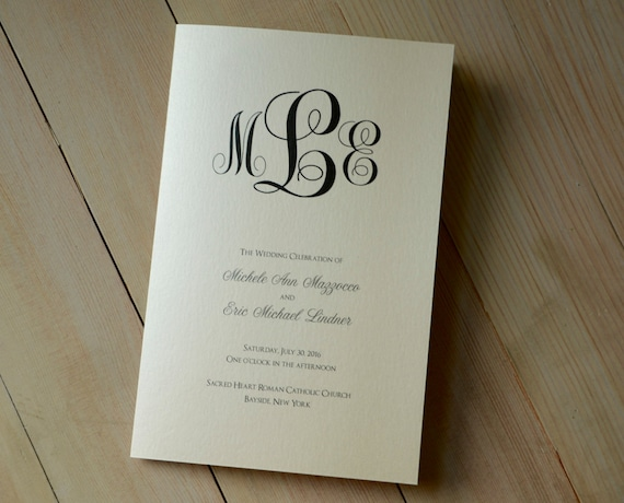 monogram design wedding program church ceremony bulletin etsy