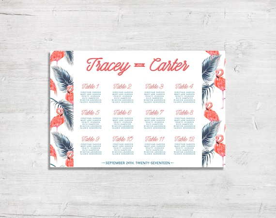 Diy Seating Chart Las Vegas Theme Wedding Flamingo Theme Etsy