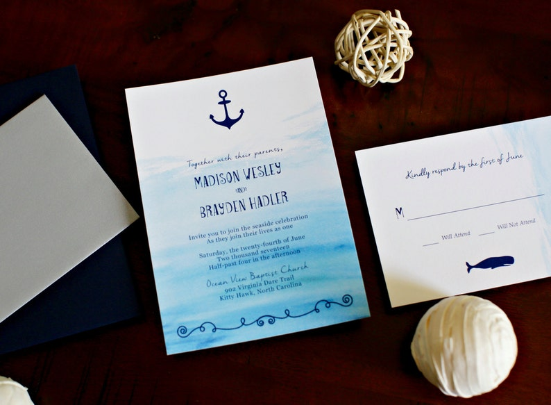Nautical Wedding Invitations.Nautical Theme Wedding Invitations Nautical Wedding Invitations Nautical Invites Nautical Set Navy Ocean Anchor Sea