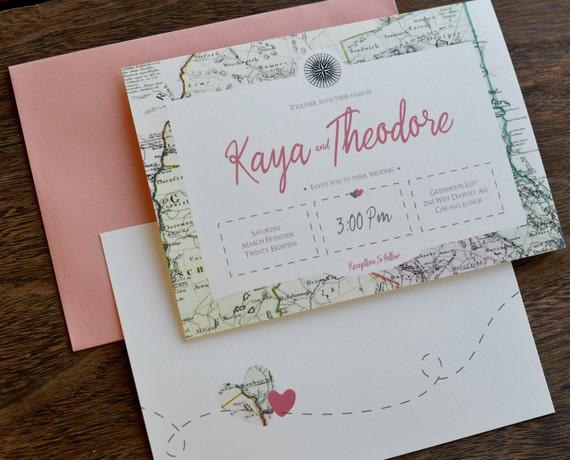 Travel Themed Wedding Travel Map Wedding Invitation Set Etsy