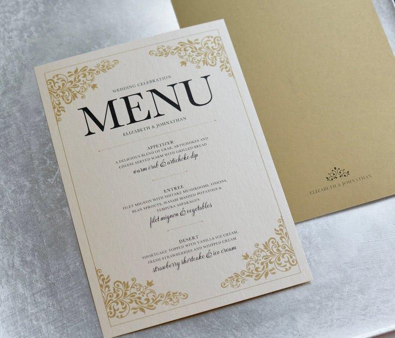 Scroll Dinner Menu Wedding Reception Menu Black Tie Dinner Etsy