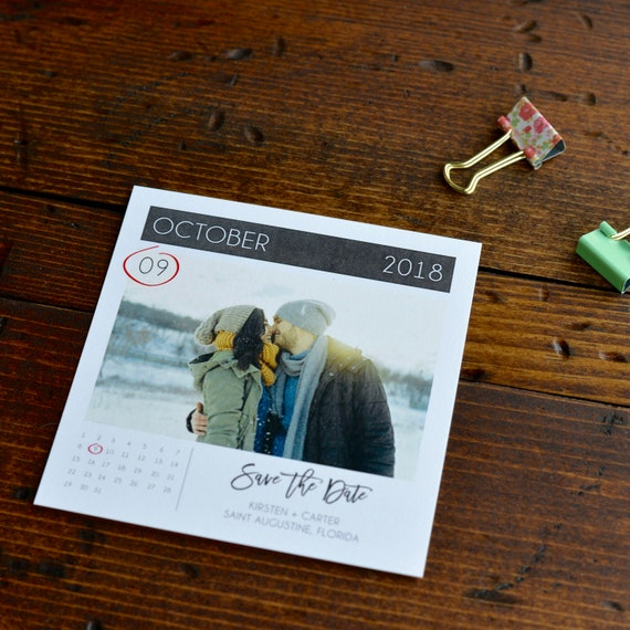 Square Photo Calendar Save The Date Magnet - Wedding - Marriage Ceremony - Magnetized - Personalized - Custom -  with Picture