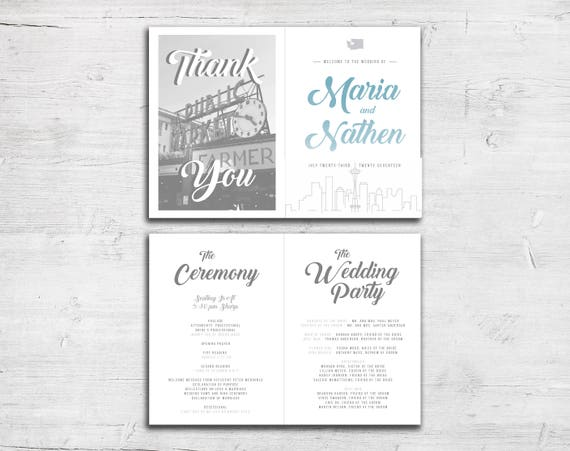 seattle city skyline wedding program modern church bulletin etsy