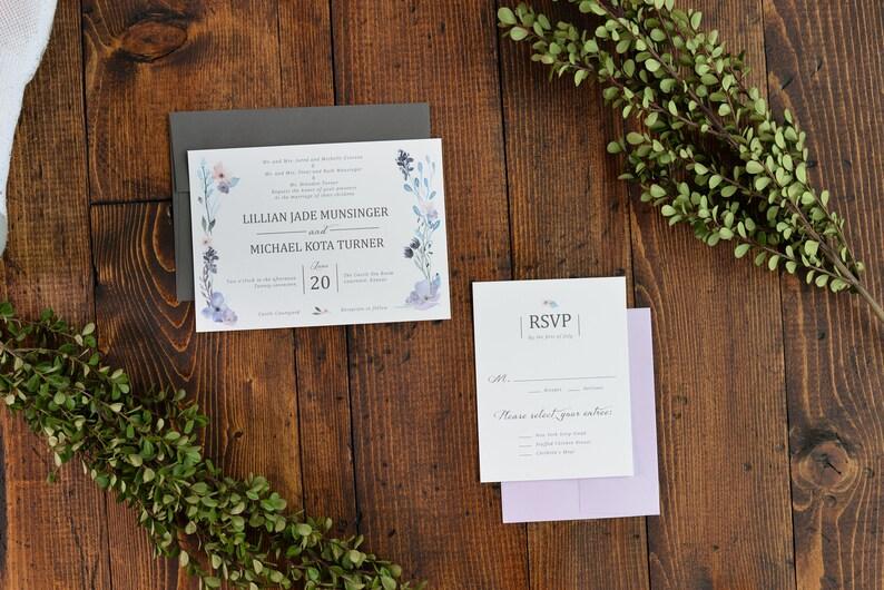 Floral Wedding Wedding Invitations Purple DIY Spring Invites Spring Wedding Digital File Only Springtime Floral Design