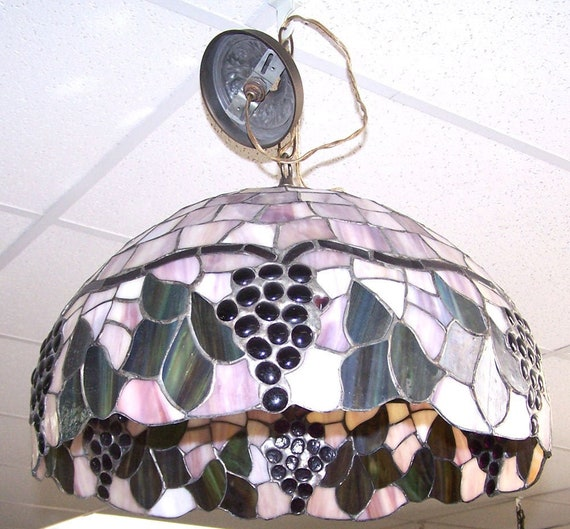 Stained Glass Hanging Lamp.Grape Stained Glass Hanging Lamp With Tiny Hearts