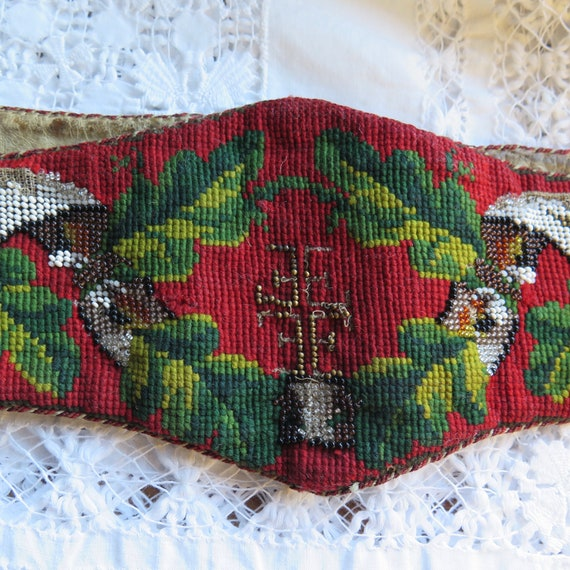 Antique Leather Belt with Beading and Woolen Needl