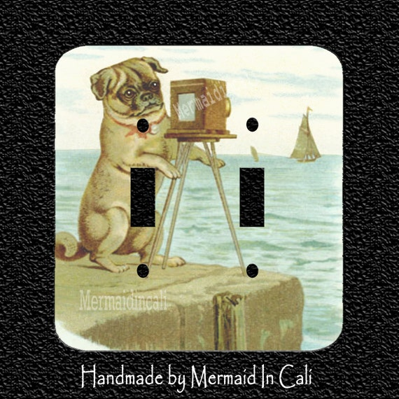 A Pug At The Beach With Camera Double Light Switch Plate Etsy