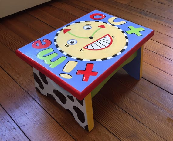 Remarkable Wooden Handpainted Time Out Stool Frankydiablos Diy Chair Ideas Frankydiabloscom