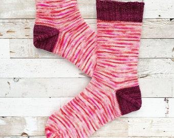 knit socks in women's US 8 - 9, merino wool alpaca socks, knitted socks - merino and alpaca   hand knits