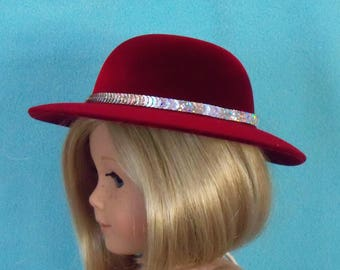18 inch Doll Chic Claret Red Hat With Sequin Trim