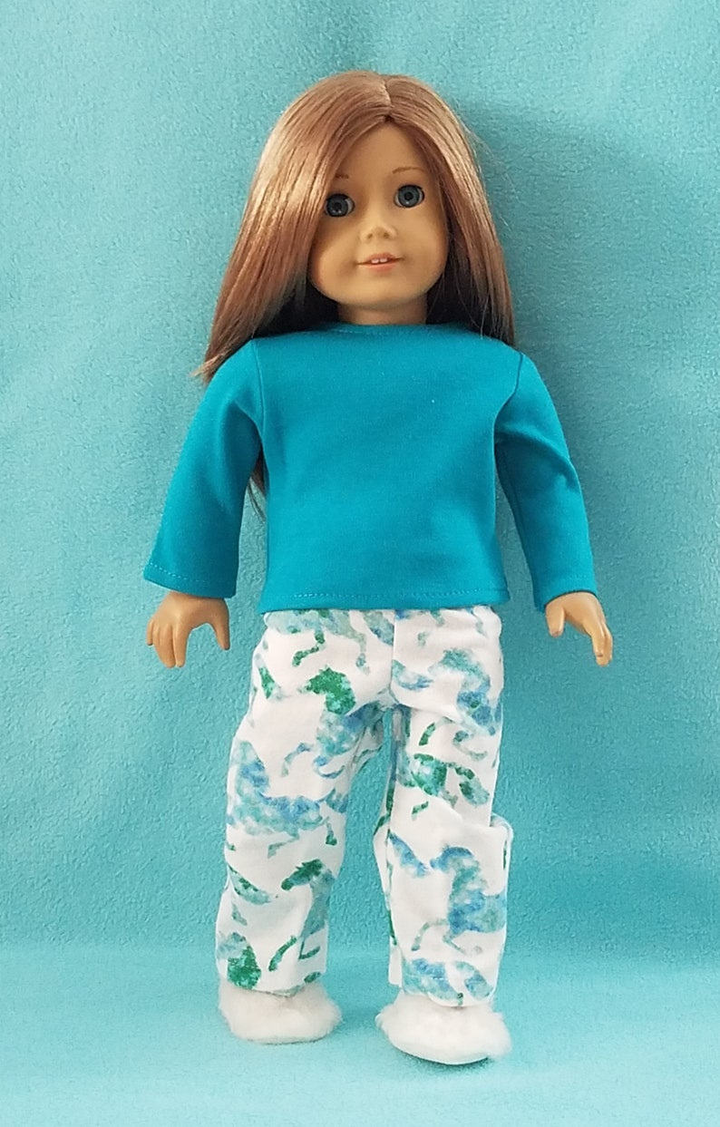 34fbdcde894 18 inch Dolls Long Sleeve Knit Top with Flannel Aqua Horses
