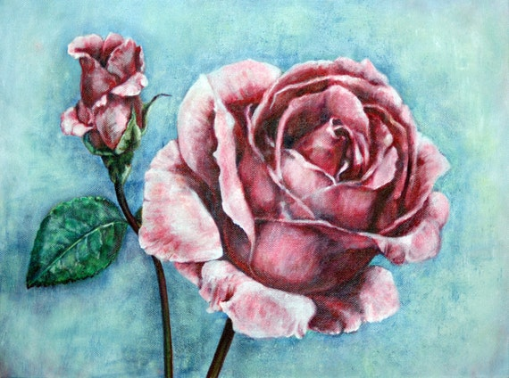 Acrylic Painting Pink Red Roses On Blue Green Turquoise Etsy