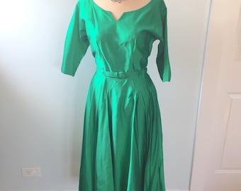 Luxury Vintage REVIVAL 50/'s GreenBlue Cocktail Sheath Dress
