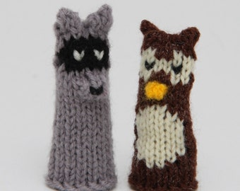 Woodland Creatures Finger Puppets  (Includes Fox, Beaver/Groundhog, Mallard Duck, Owl, and Raccoon.)  We can create custom orders.