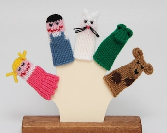 Friends and Pets Finger Puppets (Includes Girl, Boy, Cat, Dog, and Frog).  We can create custom orders.