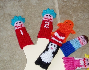 Cat with Hat Finger Puppet Set. (6 Puppets)  We can create custom listings of individual puppets or puppet sets.