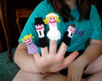 Wedding Finger Puppet Set (Inclues Bride, Groom, Flower Girl, and Ring Bearer.)  We can customize this set.