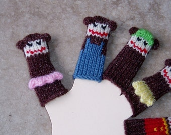 Five Little Monkeys Finger Puppet Set  (Includes five differently dressed monkeys.)  We can create custom listings.