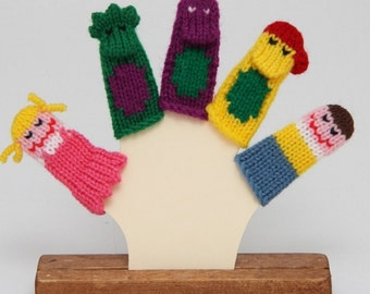 Purple Dinosaur and Friends Finger Puppet Set.  (Includes 3 Dinosaurs, 1 Boy, and 1 Girl.)